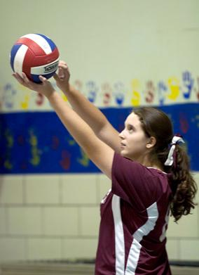 St Marys volleyball serving2